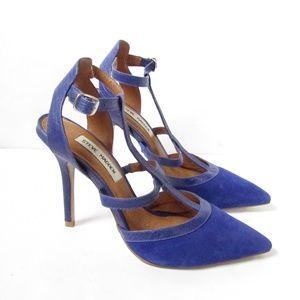 Steve Madden Blue Suede strappy Heels size 8M